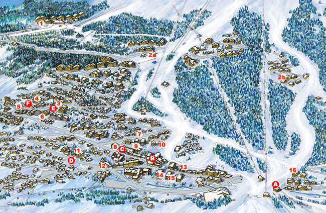 Map of ski properties for self catered rental in Meribel