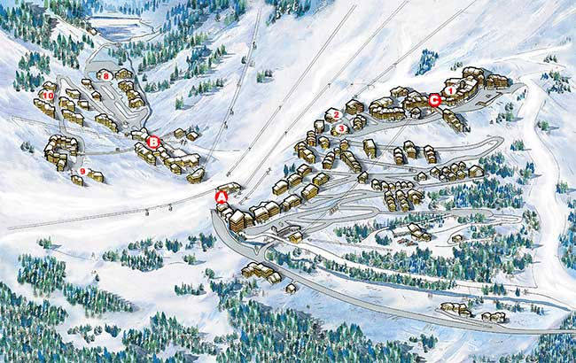Map of ski self catered chalets and apartments in Meribel Mottaret